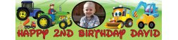 Tractor Trucks Diggers Themed Birthday Banner