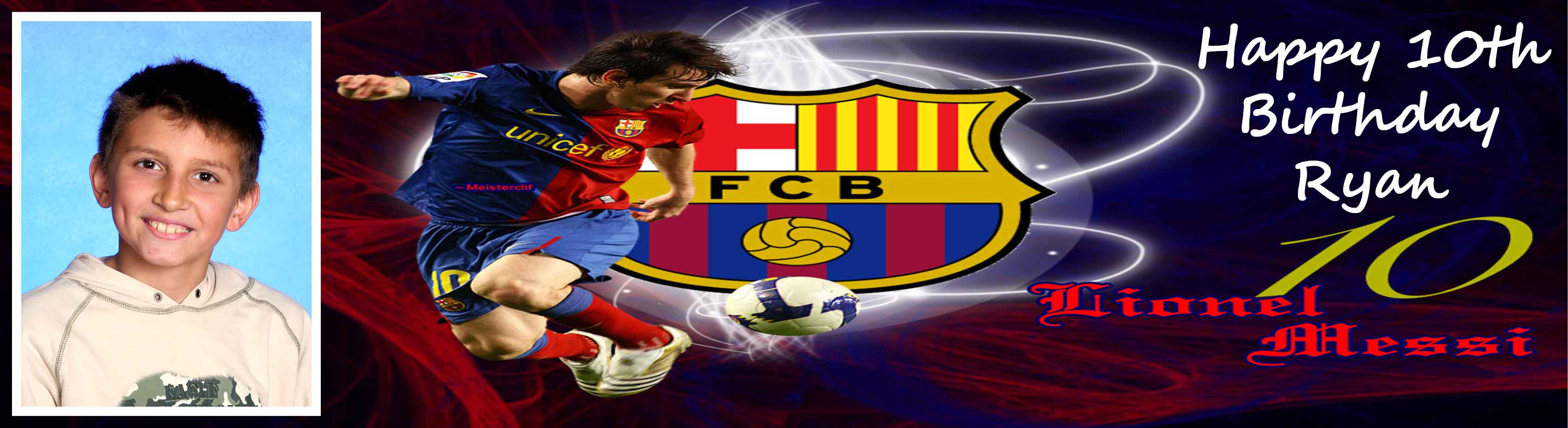 Barcelona FC Themed Birthday Party Banner 2