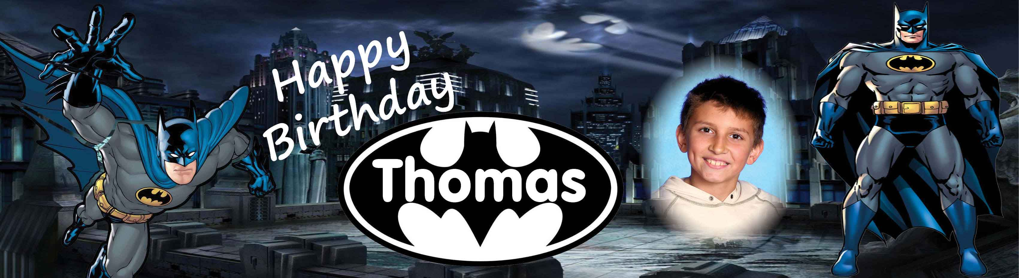 Batman Theme Birthday Banner